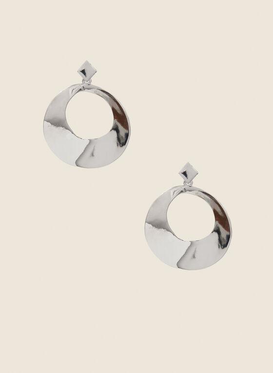 Round Metallic Dangle Earrings, Silver