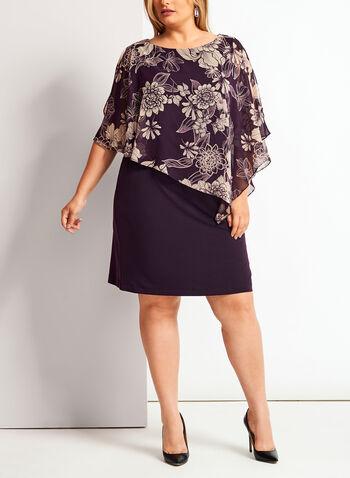 Robe poncho à fleurs, Violet, hi-res