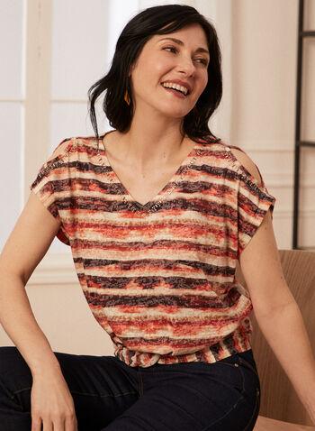 Striped Short Sleeve Tee, Brown,  spring summer 2021, t-shirt, embellished, rhinestone, v neck, open shoulder, short sleeve, knot detail,