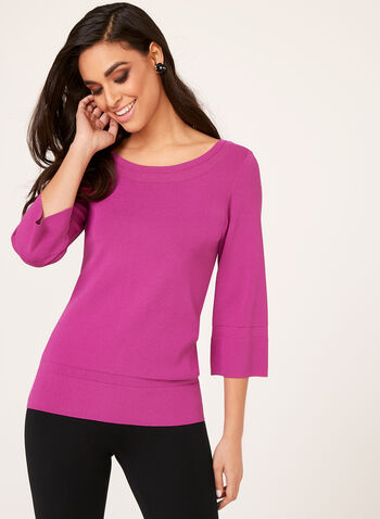 Embossed Effect Knit Sweater, Pink, hi-res