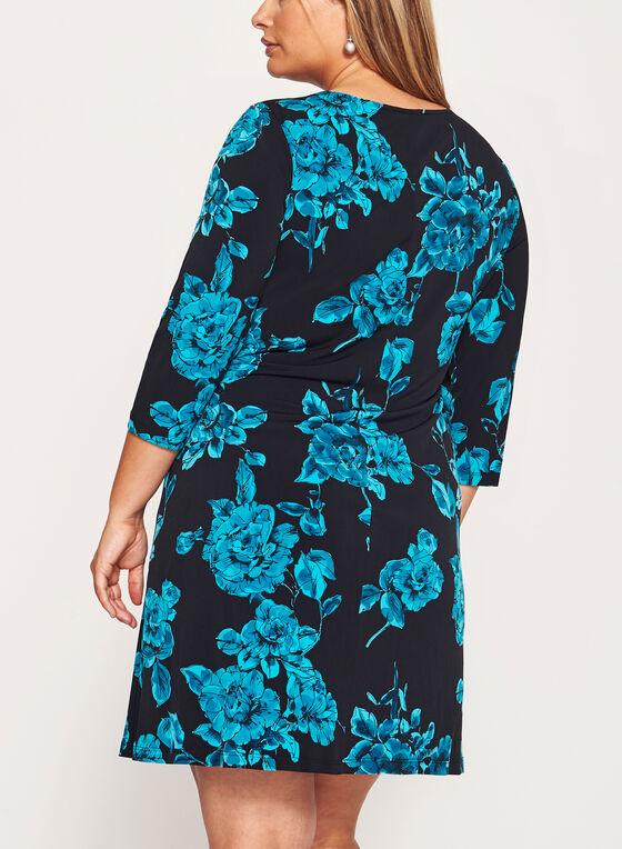 Robe manches 3/4 à motif fleuri, Bleu, hi-res