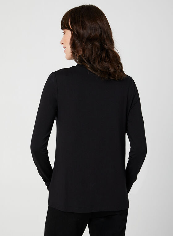 Turtleneck Long Sleeve Top, Black