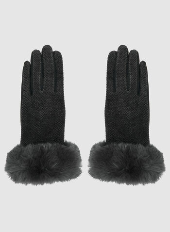 Chenille Front Gloves, Black,  gloves, faux fur, faux fur gloves, fall 2019, winter 2019