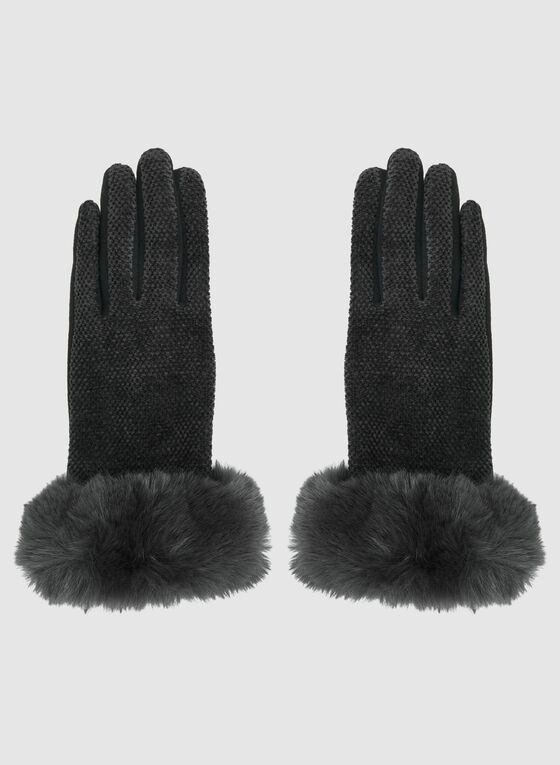 Chenille Front Gloves, Black, hi-res