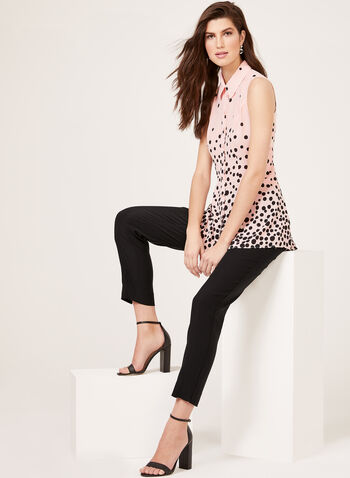 Sleeveless Polka Dot Print Blouse, Multi, hi-res