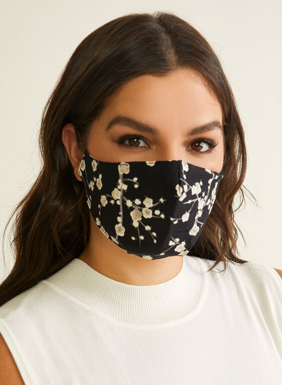Pin Point - Floral Print Mask, Black