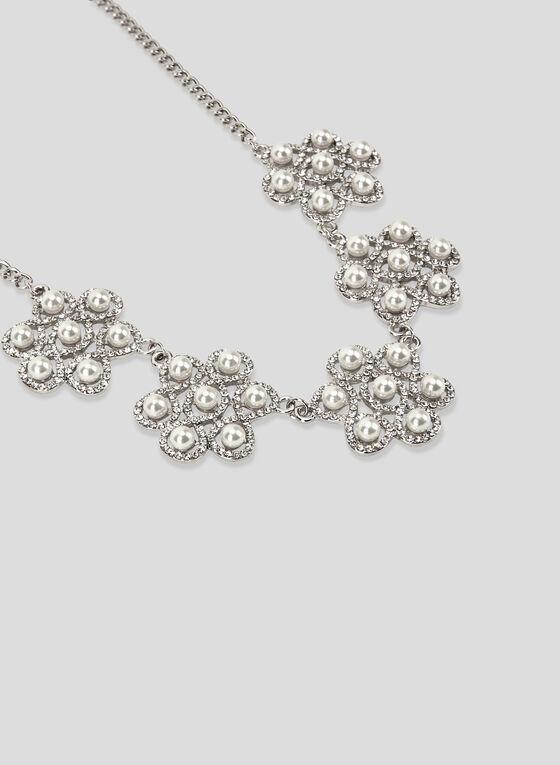 Collier à perles et cristaux, Blanc cassé, hi-res