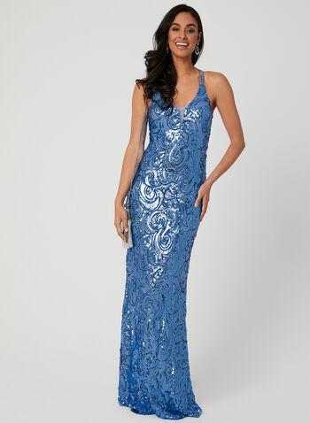 Sequin Mermaid Dress, Blue, hi-res