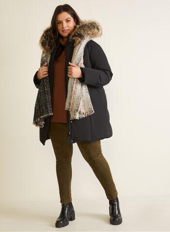 Manteau à capuchon en duvet, Noir,  automne hiver 2020, manteau, mélange, tricot aux poignets, fausse fourrure, duvet