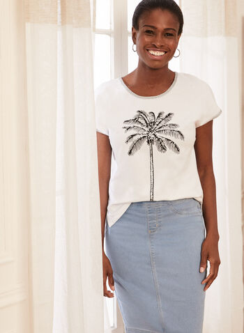 Palm Tree Print T-Shirt, White,  tee, top, t-shirt, palm tree, cotton, short sleeves, round neck, spring summer 2021