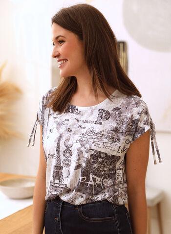 Paris Burnout Print T-Shirt, Black,  spring summer 2021, top, tshirt, tee, t shirt, shirt, print, patterns, paris, text, eiffel tower, rhinestone, detail, burnout, short sleeves, scoop neckline, drawstrings, tie, rounded hem
