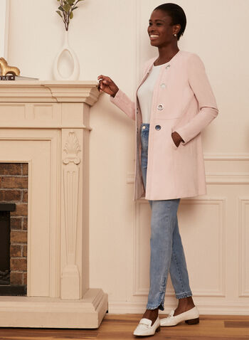 Faux Suede Duster, Pink,  duster, long sleeves, faux suede, open front, eyelets, spring 2020, summer 2020