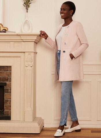Veste en faux suède à œillets, Rose,  printemps été 2021, veste, ouverte, manches longues, suède, pastel, longue, oeillets