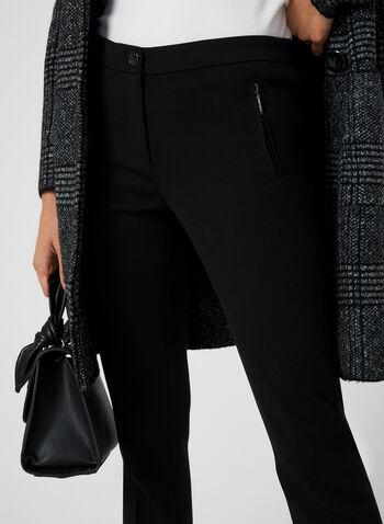 Pantalon coupe cité à jambe droite, Noir, hi-res,  pantalon, coupe cité, jambe droite, pinces avant et arrière, automne hiver 2019
