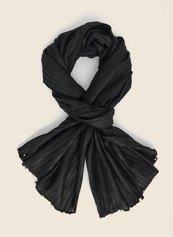 Pearl Detail Lightweight Scarf, Black,  scarf, lightweight, pearl, pleated, fall winter 2020