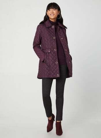 Anne Klein - Hooded Diamond Quilt Coat, Purple, hi-res,  diamond quilt, quilt coat, quilt coat, snaps, light coat, fall 2019, winter 2019