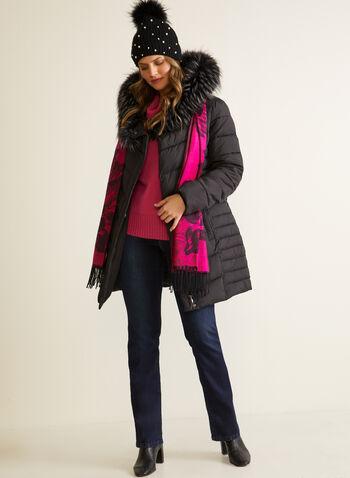 Manteau végane à fermeture asymétrique, Noir,  automne hiver 2020, manteau, manteau d'hiver, matelassé, duvet, végane, afausse fourrure, poches, similicuir, faux cuir, cuir végane, hydrofuge