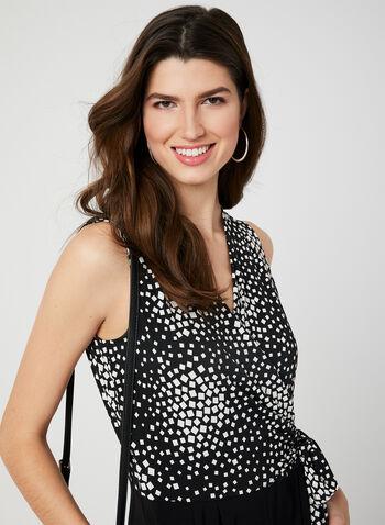 Geometric Print Jersey Jumpsuit, Black, hi-res,  jumpsuit, jersey, sleeveless, textured, spring 2019