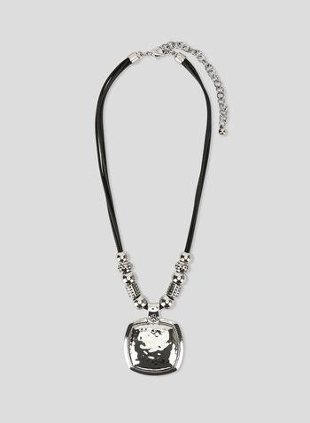 Square Pendant Necklace, Black, hi-res