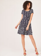 Abstract Print Jersey Dress, Blue, hi-res