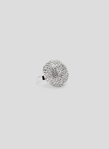 Crystal Dome Ring, Silver, hi-res