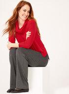 Pull tunique à col cheminée et manches ¾, Rouge, hi-res
