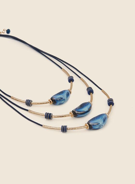 Triple Row Stone Necklace, Blue