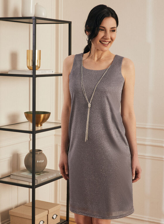 Metallic Dress & Cardigan Set, Silver