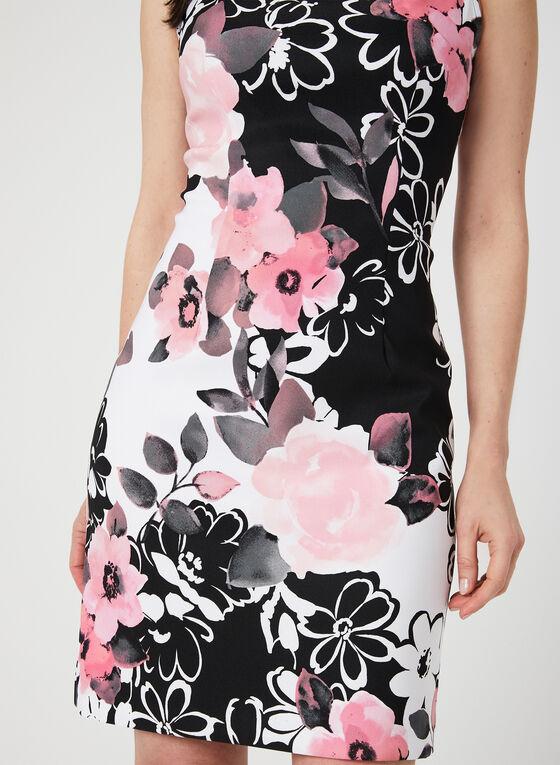 Floral Print Sleeveless Dress, Black