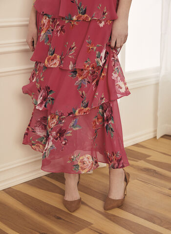 Tiered Floral Print Dress, Pink,  dress, evening, occasion, tiered, floral, chiffon, sleeveless, round neck, spring summer 2021