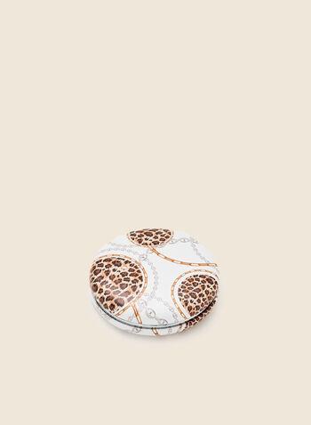 Miroir de poche à motif léopard, Blanc,  automne hiver 2020, miroir de poche, beauté, accessoires, cadeau, fêtes, fêtes 2020
