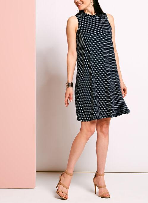 Mock Neck Dot Print Trapeze Dress, Blue, hi-res
