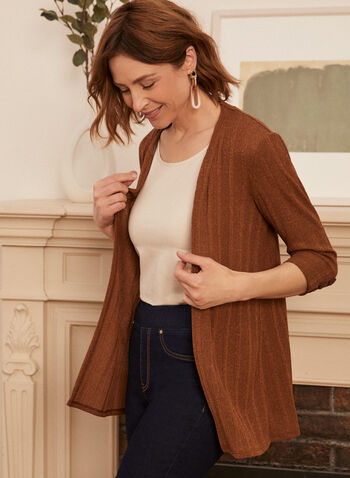 3/4 Sleeve Cardigan, Brown,  spring summer 2021, cardigan, knitted, twist yarn, open-front, cover-up,3/4 sleeve