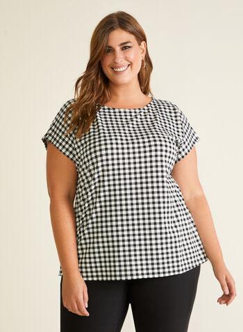 Gingham Print Short Sleeve Top, Black,  top, gingham print, short sleeves, scoop neck, spring summer 2020