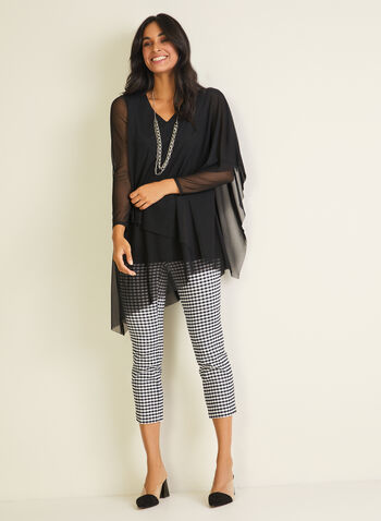 Tiered Mesh Top, Black,  top, 3/4 sleeves, mesh, v-neck, spring summer 2020