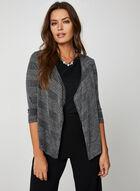 Metallic Knit Open Front Top, Grey