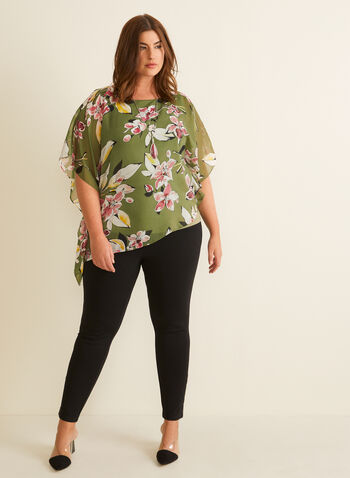 Floral Print Chiffon Poncho Blouse, Green,  blouse, top, poncho, chiffon, floral, asymmetrical, jersey, spring summer 2020