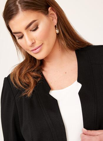 Vex - Veste ouverte à col cranté et détails zippés, Noir, hi-res