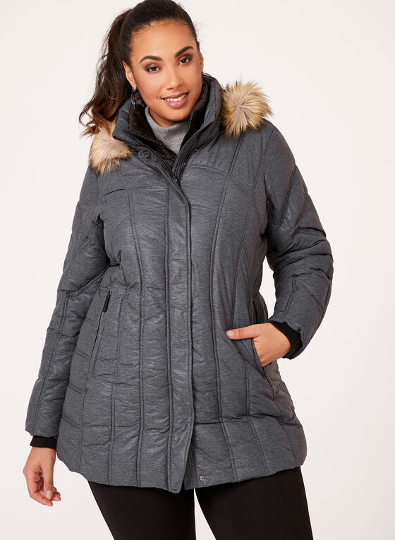 Hooded Faux Down Quilted Coat, Grey, hi-res