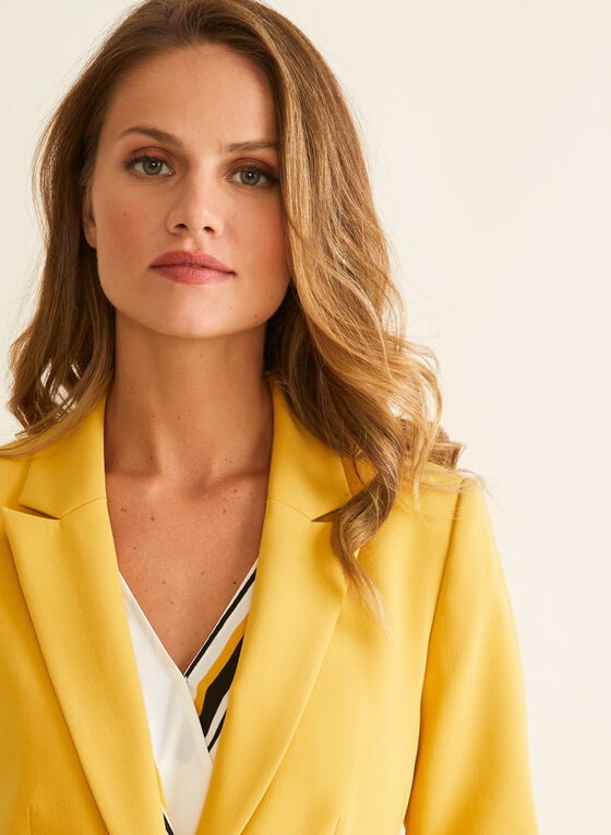 One-Button Closure Jacket , Yellow
