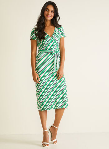 Stripe Print Short Sleeve Dress, Green,  day dress, short sleeves, stripe print, crossover, column, midi, crepe, slit, belt, spring summer 2020