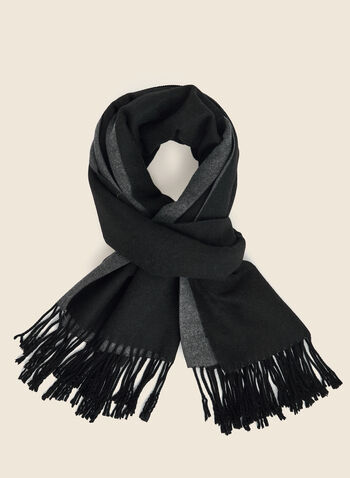 Reversible Fringe Detail Scarf, Black,  scarf, reversible, fringe, fall winter 2020