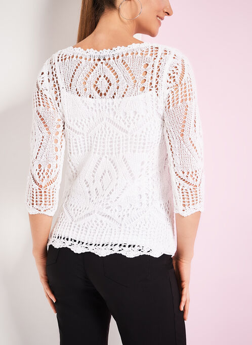 Crochet Knit Sweater with Matching Tank, White, hi-res