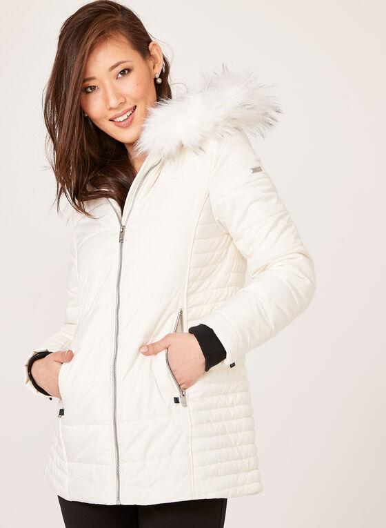 Novelti - Manteau réfléchissant avec col en fausse fourrure, Blanc cassé, hi-res