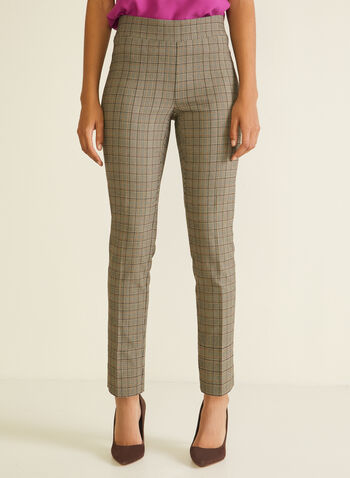 Tartan Print Pull-On Pants, Brown,  pants, pull-on, straight, tartan, pleats, jacquard, spring summer 2020