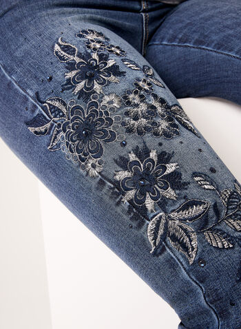 Modern Fit Slim Leg Embroidered Jeans, Blue, hi-res