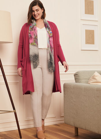 Open Front Knit Cardigan, Pink,  cardigan, knit, open front, long sleeves, button detail, tunic, spring summer 2021