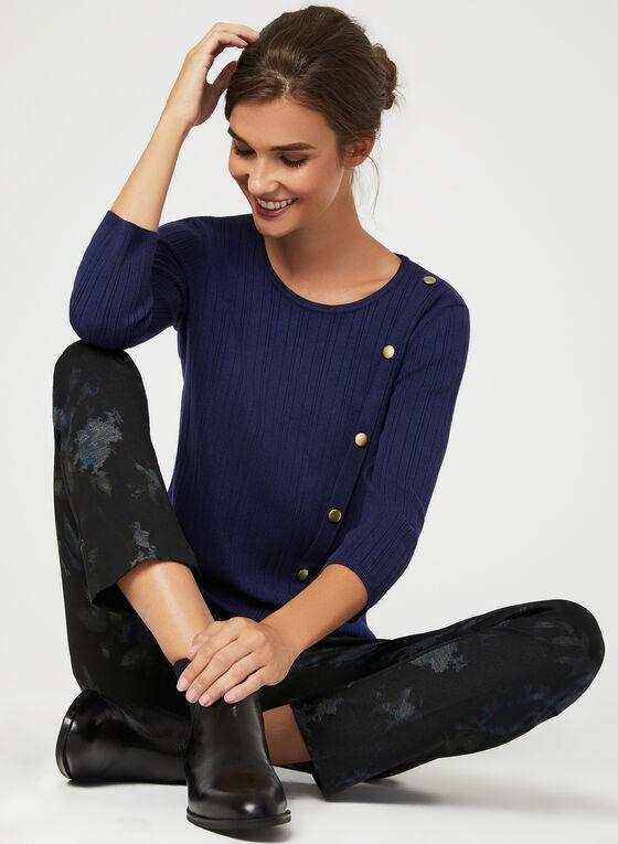 Pull en tricot côtelé avec détails boutons, Bleu, hi-res