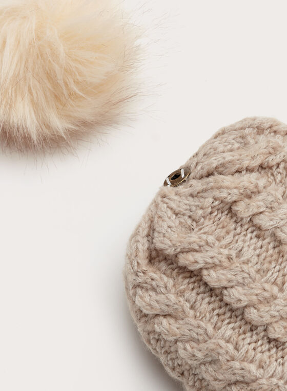 Cable Knit Pompom Hat, Off White, hi-res