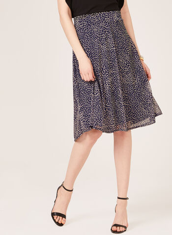 Leaf Print Midi Skirt, Blue, hi-res